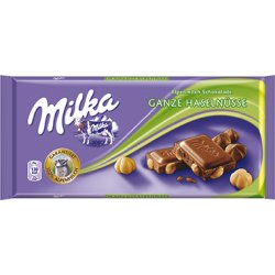 Milka Mliečna čokoláda z alpského mlieka s celými lieskovými orechami 100g