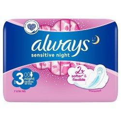 Always Sensitive Ultra Night hygienické vložky s krídelkami 7 ks
